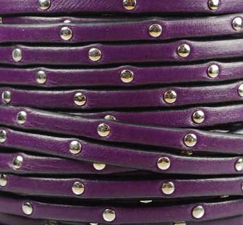 Studded 5mm Flat Leather Cord - Purple