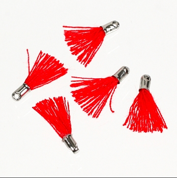 12mm SILVER : RED Tassel