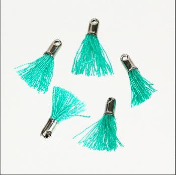 12mm SILVER : TEAL Tassel