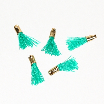 12mm GOLD : TEAL Tassel