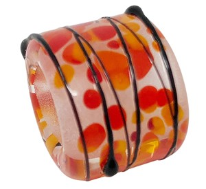 T-Beads Glass Slider Oval Large Hole 10mm - Sunset