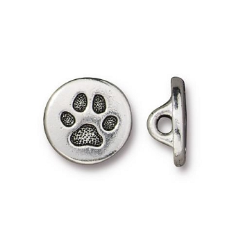 TierraCast Small Paw Button - Silver Plated