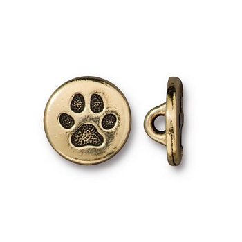 TierraCast Small Paw Button - Gold Plated