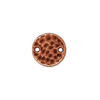 Hammered Disk Link - Antique Copper