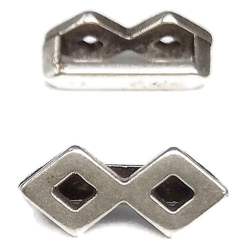 10mm DOUBLE DIAMOND Flat Leather Slider ANTIQUE SILVER