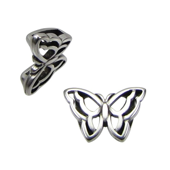 10mm Open Butterfly Flat Leather Cord Slider - Antique Silver