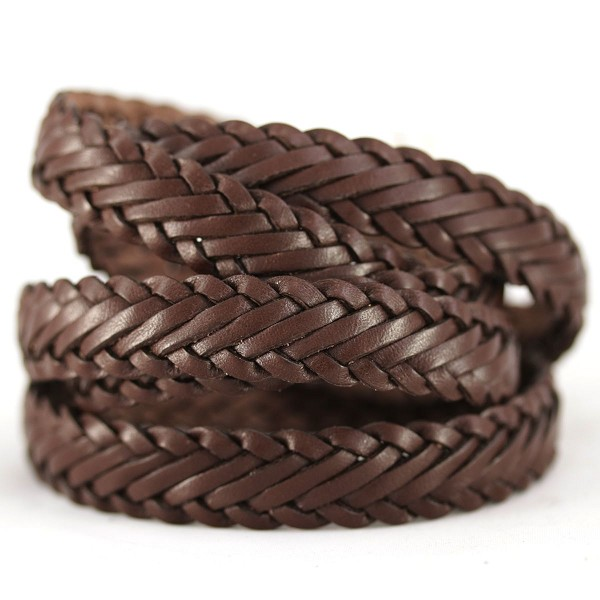 Braided Leather Strip Style 1 (15x3.5mm)  per meter - Chocolate Bgrown