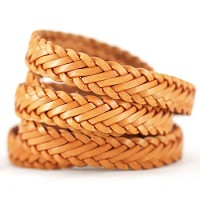 Braided Leather Strip Style 1 (15x3.5mm) per meter - Tobacco
