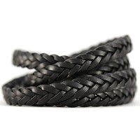 Braided Leather Strip Style 2 (11x3.5mm) per meter - Black