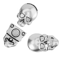 10mm Flat Skull Magnetic Clasp - Antique Silver