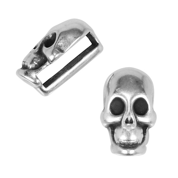 10mm Flat Small Skull Slider ANT SILVER