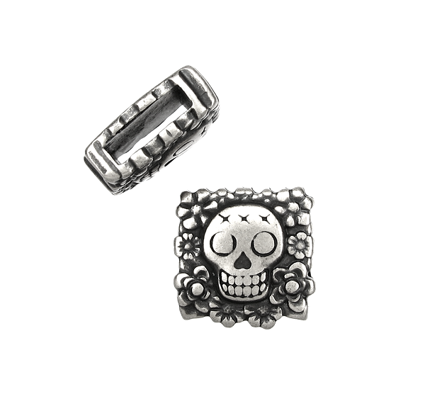 10mm Flat Sugar Skull Slider - Antique Silver