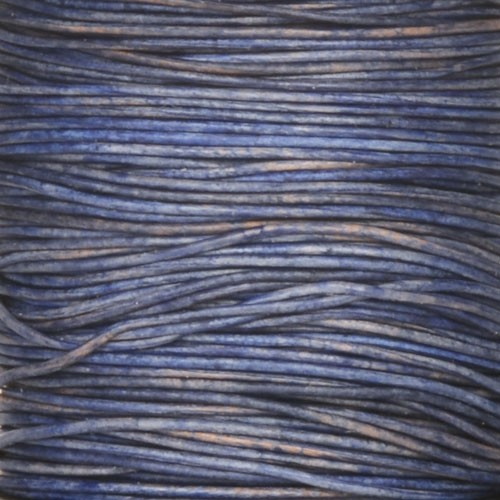 0.5mm Round Indian Leather Cord - Natural Blue - per yard