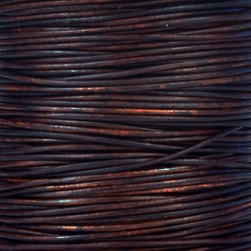 0.5mm Round Indian Leather Cord - Natural Antique Brown - per yard