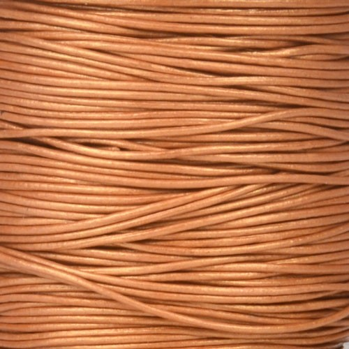 0.5mm Round Leather Cord - Metallic Copper - per yard
