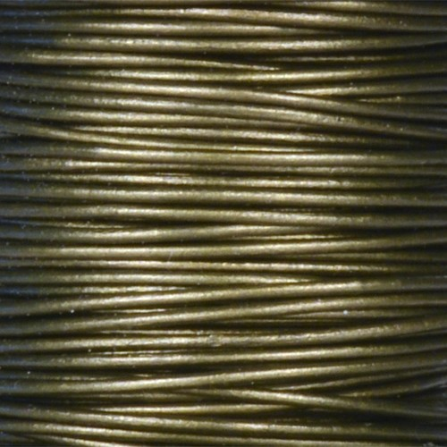 0.5mm Round Leather Cord - Metallic Khaki Green