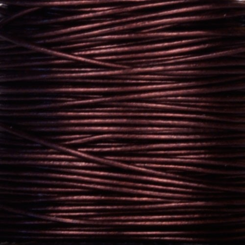 0.5mm Round Leather Cord - Metallic Maroon - per yard