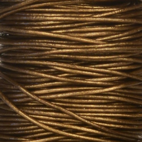 0.5mm Round Leather Cord - Metallic Bronze