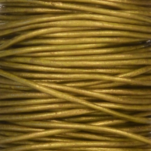 0.5mm Round Leather Cord - Metallic Olive
