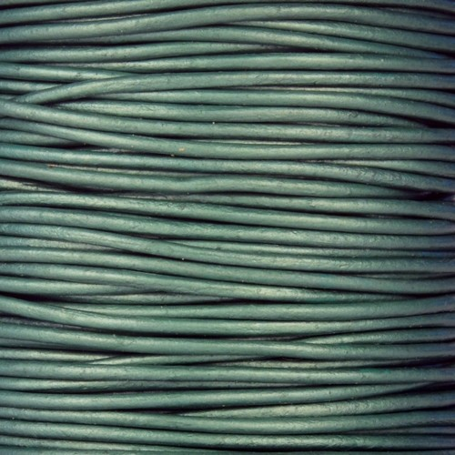 0.5mm Round Leather Cord - Metallic Truly Teal