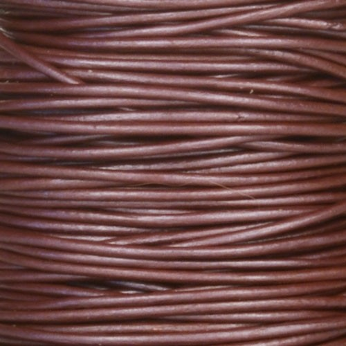 0.5mm Round Leather Cord - Metallic Berry