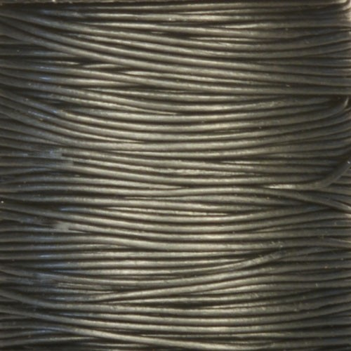 0.5mm Round Leather Cord - Metallic Gunmetal