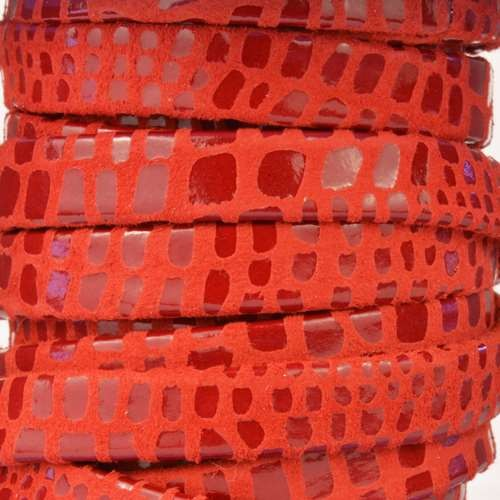 Cancun 10mm Flat Leather Cord - Red