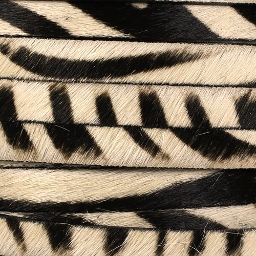 10mm flat HAIR ON leather Dark Brown Stripe Print - per inch