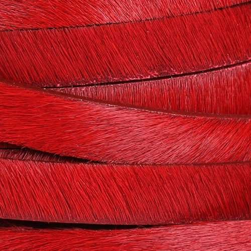10mm flat HAIR ON leather RED