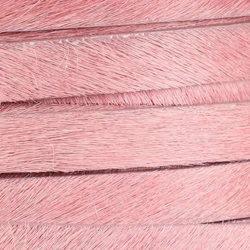 10mm flat HAIR ON leather PINK - per inch