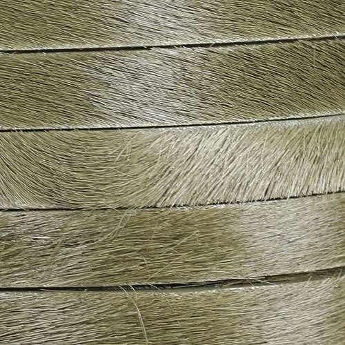 10mm flat HAIR ON leather KHAKI GREEN - per inch