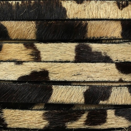 10mm flat HAIR ON leather Black / Brown / Tan Print - per inch