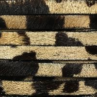 Cow Hair 10mm Flat Leather Cord - Black / Brown / Tan Print