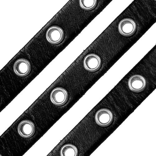 Eyelet 10mm Flat Leather Cord - Black - per inch
