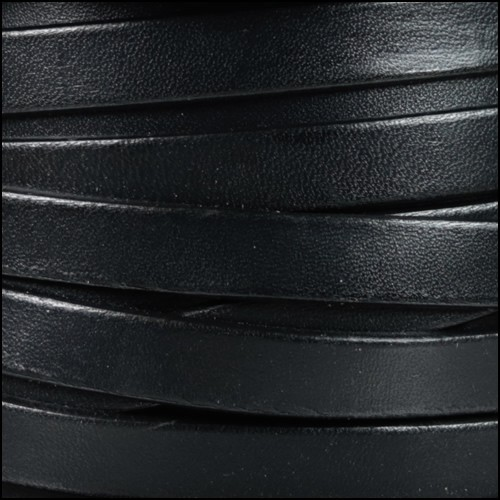 10mm Flat Leather Cord - Black - per inch