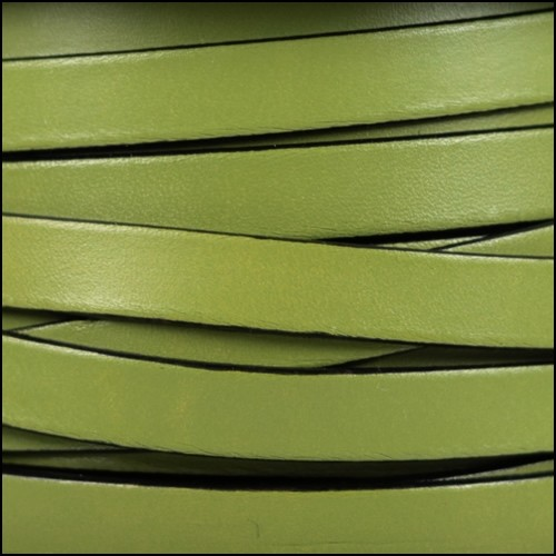 10mm Flat Leather Cord - Olive Green / Black