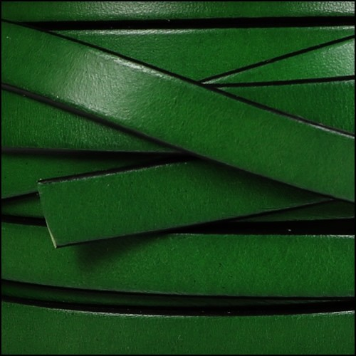 10mm Flat Leather Cord - Bottle Green - per inch