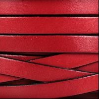 10mm Flat Leather Cord - Red - per inch