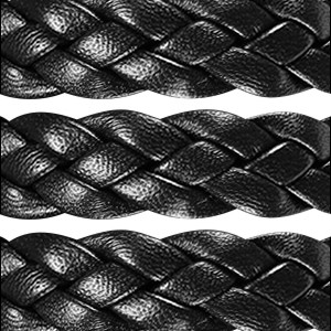 Braided 10mm Flat Leather Cord - Black