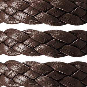 Braided 10mm Flat Leather Cord - Dark Brown