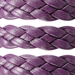 Braided 10mm Flat Leather Cord - Purple - per inch