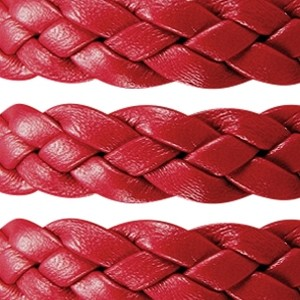 Braided 10mm Flat Leather Cord - Red