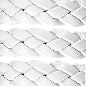 Braided 10mm Flat Leather Cord - White - per inch