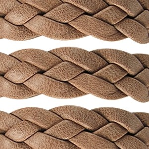 Braided 10mm Flat Leather Cord - Camel - per inch