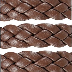 Braided 10mm Flat Leather Cord - Brown - per inch