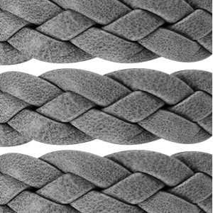 Braided 10mm Flat Leather Cord - Grey