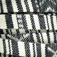 Cotton 10mm FLAT Cord - Black / Cream - per inch
