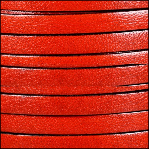Camel 10mm Flat Leather Cord - BLOOD ORANGE - per inch