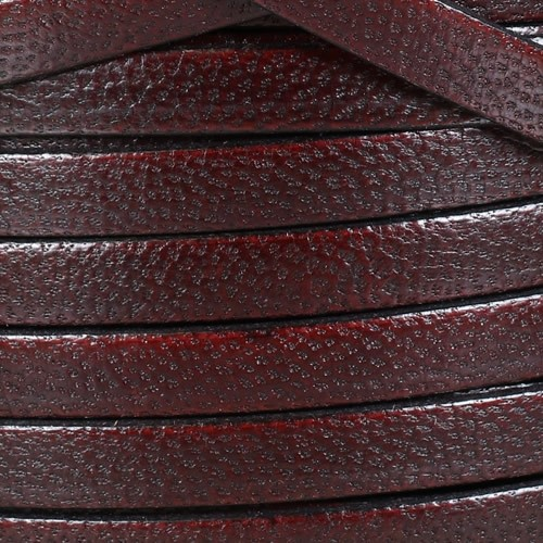Camel 10mm Flat Leather Cord - BURGUNDY