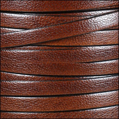 Camel 10mm Flat Leather Cord - MED BROWN